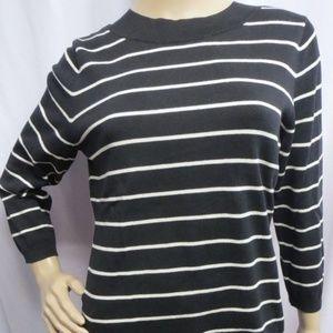 Talbots Stripe 3/4 Sleeve Pullover Sweater  M New